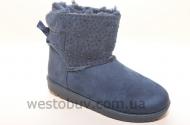 Зимние низенькие женские угги в синих стразах R105