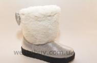 Зимние женские угги белый натаральный мех XD-09c