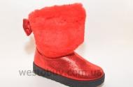 Зимние женские угги красный натаральный мех XD-09b
