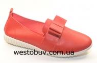 Красные мокасины с бантиком H8360