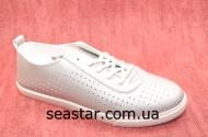 Мокасины для женщин серебристого цвета 86-141b
