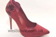 Бордовый замш туфли для женщин 5047-42