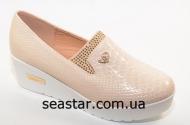 Женские туфли бежевый экко-лак H58-2