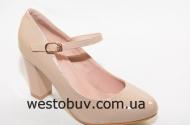 Бежевые туфли женские перепонка с пряжкой B769